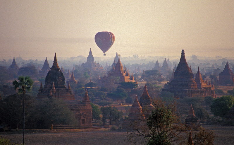 Hot-air Balloons Floating Over Temples of Bagan at Daybreak, Burma (Myanmar)