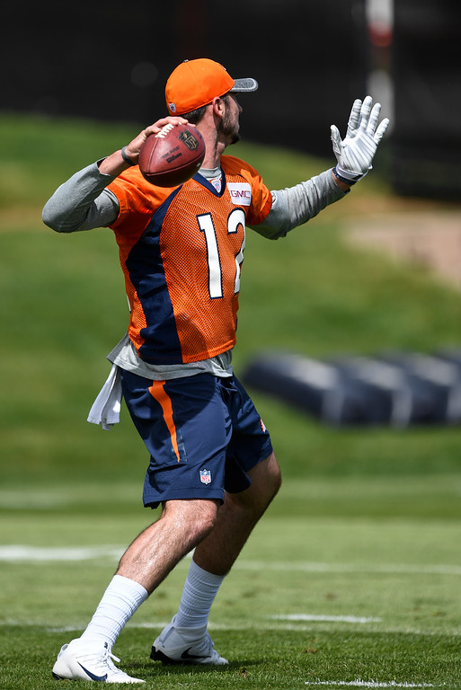 . Denver Broncos quarterback Paxton Lynch (12) throws a pass during rookie minicamp May 6, 2016 at UCHealth Training Facility. (Photo By John Leyba/The Denver Post)