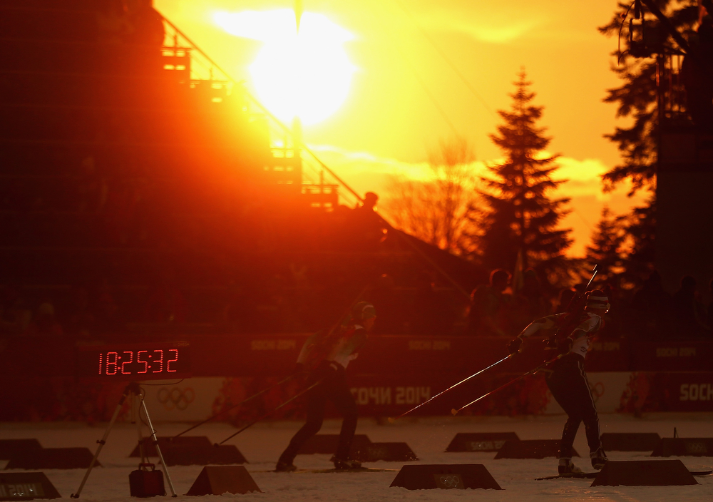 . Competitors warm up before the Biathlon Women\'s 10km Pursuit Final during the Sochi 2014 Winter Olympics at Laura Cross-country Ski & Biathlon Center on February 11, 2014 in Sochi, Russia.  (Photo by Ryan Pierse/Getty Images)