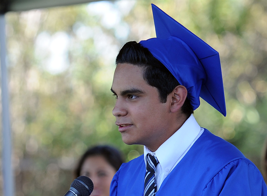 . Marco Vazquez gives the student address during the El Camino High School commencement at El Camino High School on Wednesday, June 19, 2013 in Whittier, Calif.  (Keith Birmingham/Pasadena Star-News)