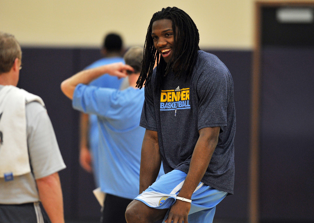 . DENVER, CO. - APRIL 18 : Kenneth Faried of Denver Nuggets is in the team practice at Pepsi Center. Denver. Denver, Colorado. April 18, 2013. (Photo By Hyoung Chang/The Denver Post)