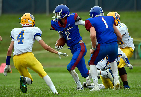 9/8/2018 Mike Orazzi | Staff St. Paul's Max Peruta (2) against Seymour in Bristol Saturday.