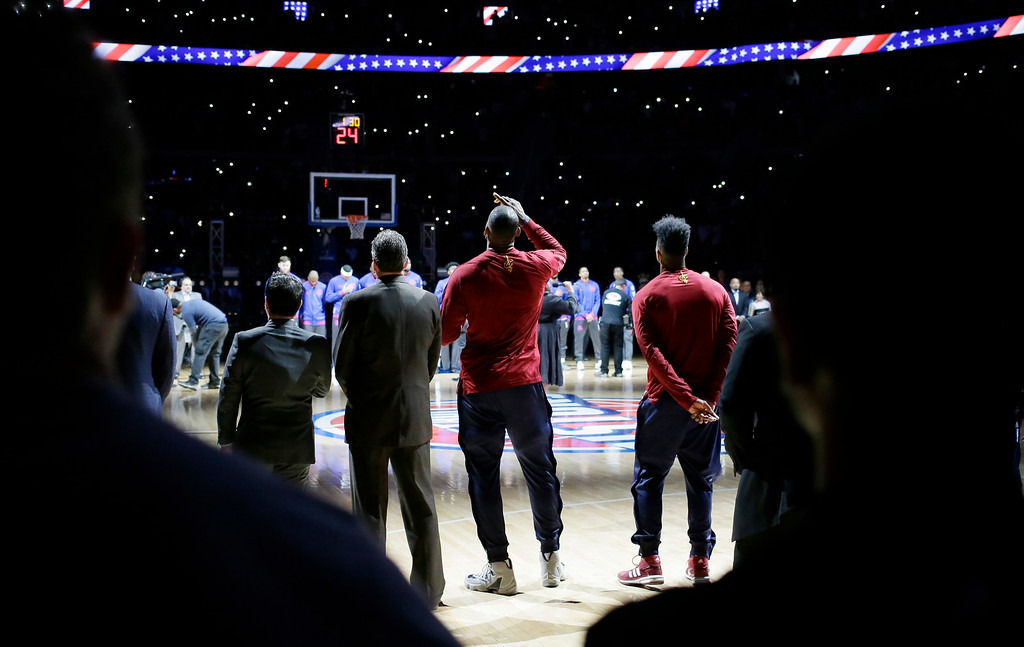 . Cleveland Cavaliers forward LeBron James looks skyward after the national anthem before the first half in Game 4 of a first-round NBA basketball playoff series against the Detroit Pistons, Sunday, April 24, 2016 in Auburn Hills, Mich. (AP Photo/Carlos Osorio)
