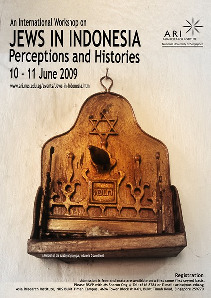 Asia Research Institute, Jakarta, Indonesia. Jews in Indonesia poster advertisement. June 2009
