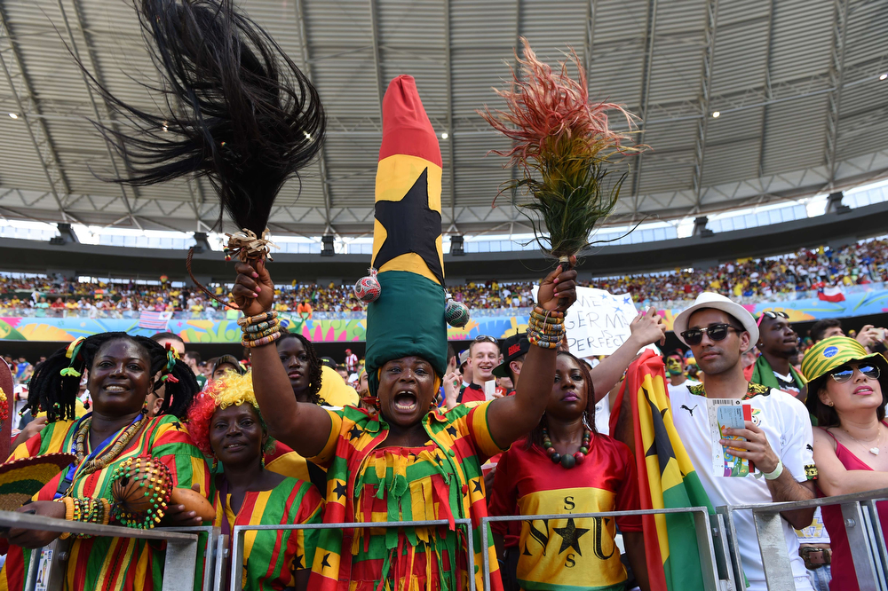 . Ghana\'s supporters cheer prior to a Group G football match between Germany and Ghana at the Castelao Stadium in Fortaleza during the 2014 FIFA World Cup on June 21, 2014.  (CARL DE SOUZA/AFP/Getty Images)