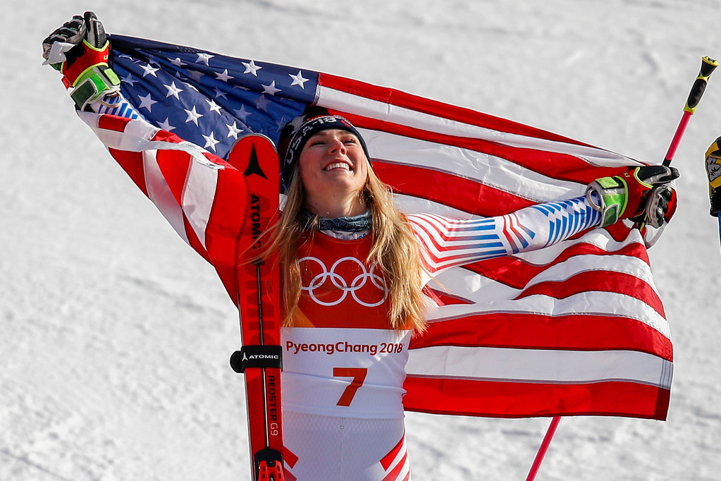 . Mikaela Shiffrin, of the United States, celebrates her gold medal during the venue ceremony at the Women\'s Giant Slalom at the 2018 Winter Olympics in Pyeongchang, South Korea, Thursday, Feb. 15, 2018., Thursday, Feb. 15, 2018. (AP Photo/Jae C. Hong)