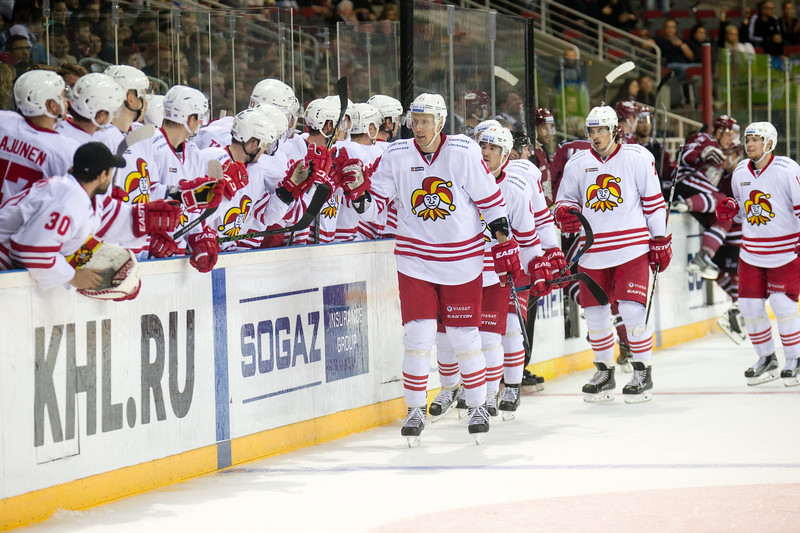 Player of Jokerit celebrate the goal of Marko Anttila (12) in the KHL regular championship game between Dinamo Riga and Jokerit, played on September 13, 2016 in Arena Riga