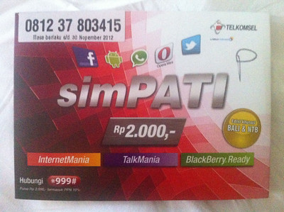 Bali iPhone Sim Card