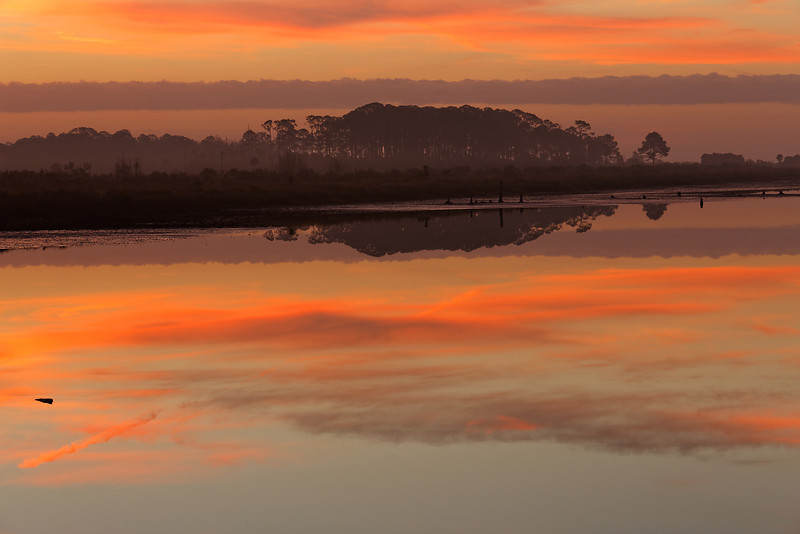 Painted Sky - Sky reflected in Stoney Bayou No. 1 just prior to sunrise