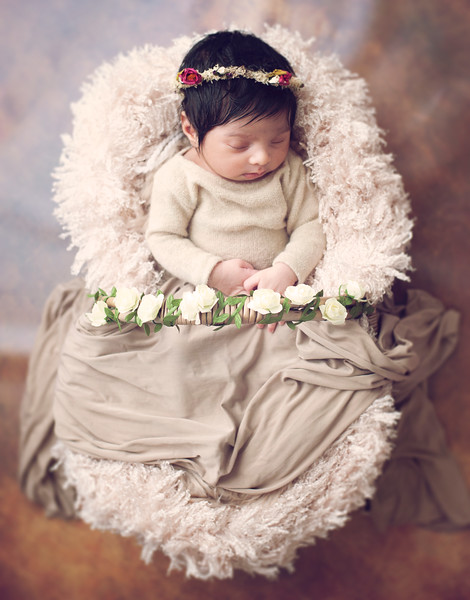 baby girl in a basket photographed by newborn photographer highbury