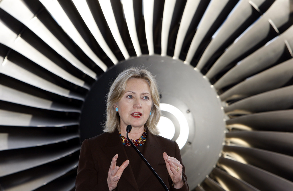. U.S. Secretary of State Hillary Rodham Clinton gestures as she speaks during an event to showcase Malaysia Airlines\' partnerships with American companies at SkyPark Subang Terminal in Subang, near Kuala Lumpur, Malaysia, Wednesday, Nov. 3, 2010. (AP Photo/Lai Seng Sin)