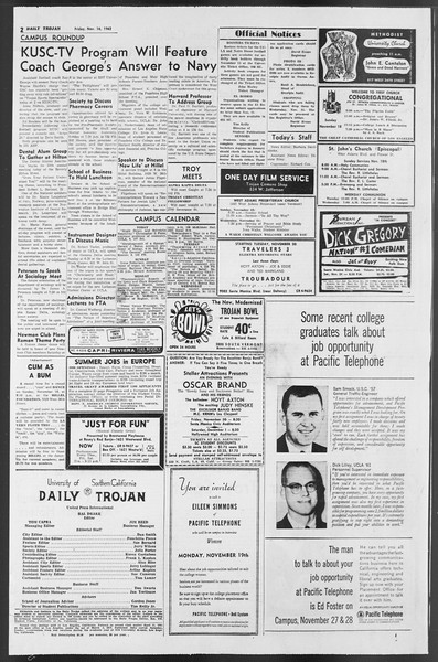 Daily Trojan, Vol. 54, No. 38, November 16, 1962