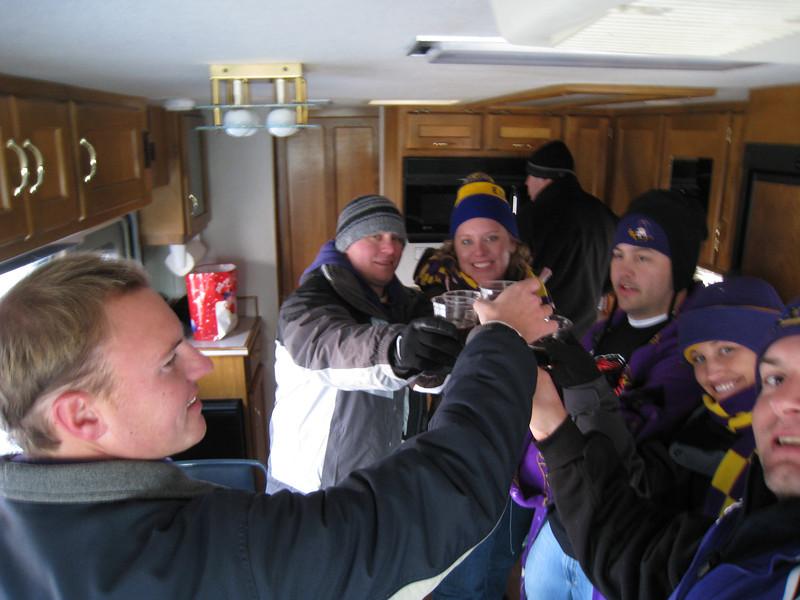 JG, Robbie, Lauren, Steve, Stephanie, Jon taking shots in the RV.