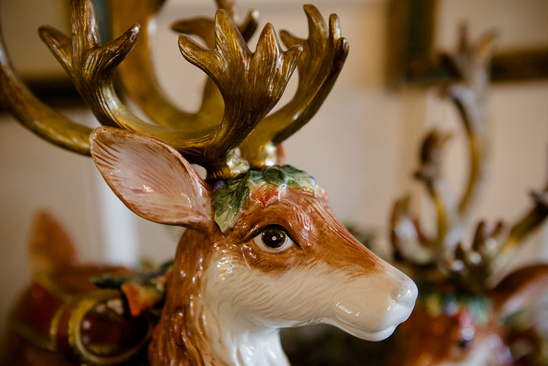 . A detail of the reindeer figurines in the Governor\'s mansion state dining room. The pair were a gift from former first lady Frances Owens. Photo by Mark Broste