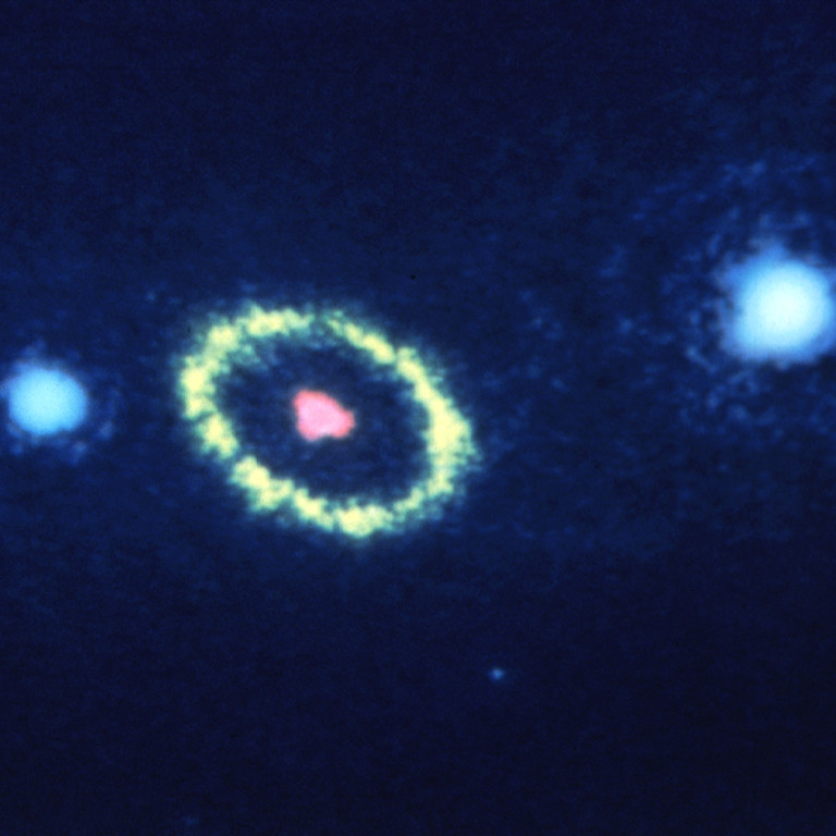 . 1990: Supernova 1987A (SN 1987a)  AUGUST 29, 1990: The Hubble Space Telescope has resolved, to an unprecedented detail of 0.1 arcsecond, a mysterious elliptical ring of material around the remnants of Supernova 1987A. Credit: NASA, ESA, and STScI