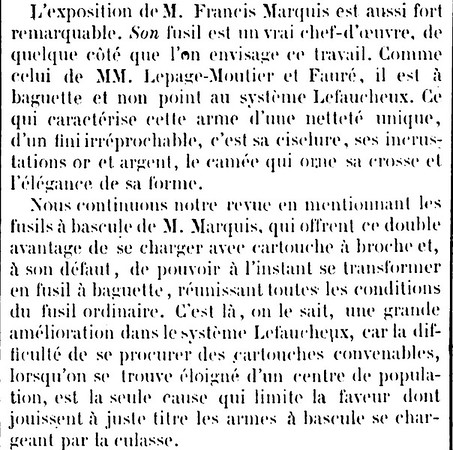 About Francis Marquis in the Journal, La Chasse Illustrée