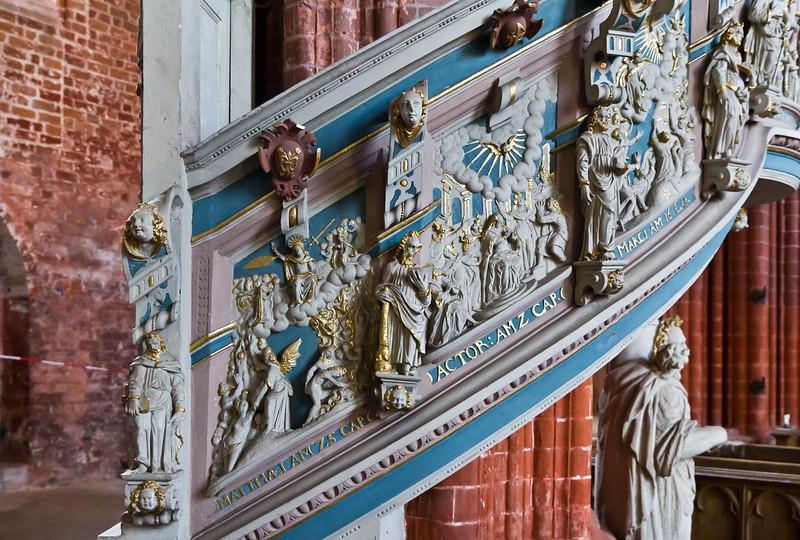 Werben, Johanniskirche, Kanzel Treppenbrüstung (Michael Spies, 1602)