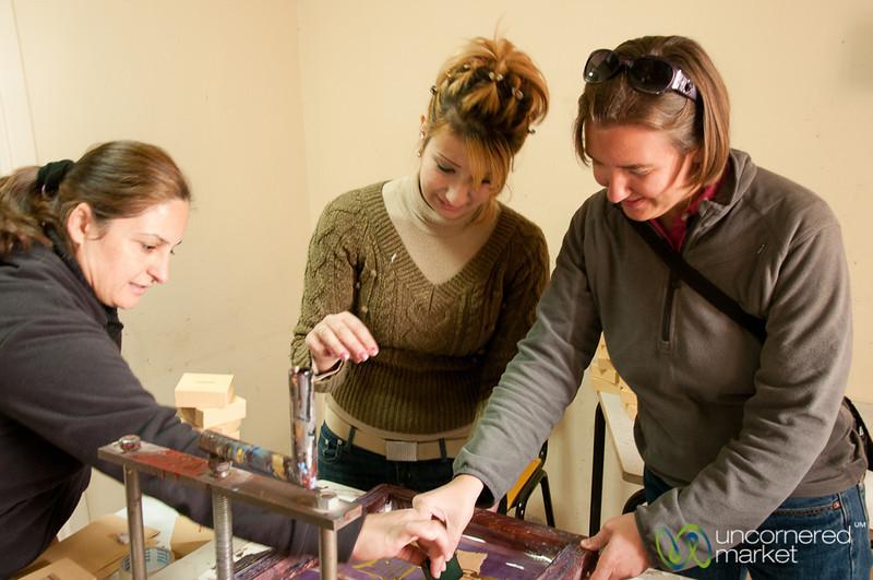 Audrey Gets a Lesson in Silk Screening - Azraq, Jordan