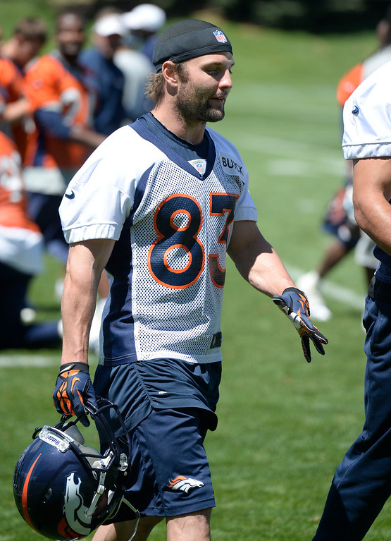 . Denver Broncos Wes Welker (83) walks off the field after practice during OTA\'s May 30, 2013 at Dove Valley. (Photo By John Leyba/The Denver Post)