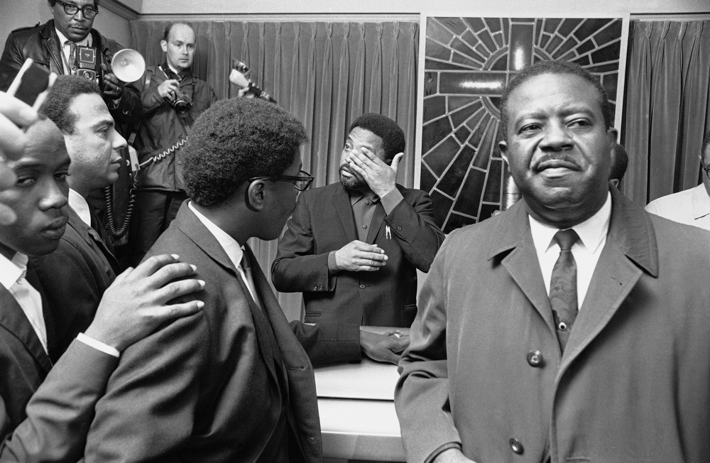 . Civil rights leader Rev. Ralph Abernathy is shown after he concluded a short memorial service for the late Rev. Dr. Martin Luther King, Jr., in Memphis, Tenn., April 5, 1968.  Abernathy assumed the duties of the president of the Southern Christian Leadership after King was assassinated.  (AP Photo)