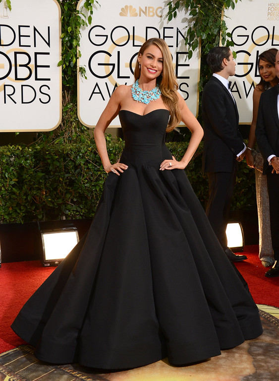 . Sofia Vergara arrives at the 71st annual Golden Globe Awards at the Beverly Hilton Hotel on Sunday, Jan. 12, 2014, in Beverly Hills, Calif. (Photo by Jordan Strauss/Invision/AP)