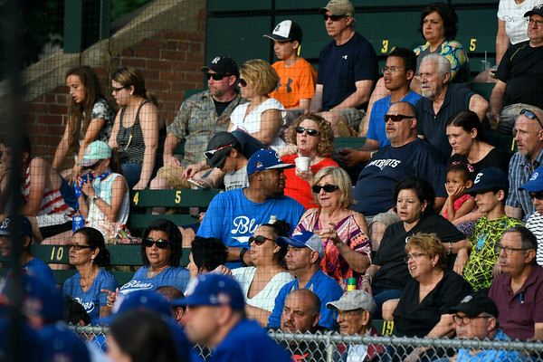 6/2/2018 Mike Orazzi | Staff Blues fans at the home opener for the Bristol Blues' 2018 baseball season at Muzzy Field in Bristol Saturday night.