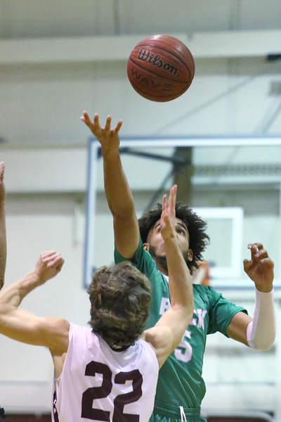 Shane William (right) from Brick battles with Bo Marro (left) from TRS as Brick Township High School takes on Toms River South High School in a boys varsity basketball game held in Toms River on January 3,2019. (MARK R. SULLIVAN /THE OCEAN STAR)