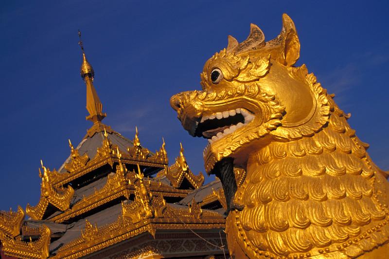Temple Lion Statue and Pavilion at Kuthodaw Paya (Pagoda) in Mandalay, Burma (Myanmar)