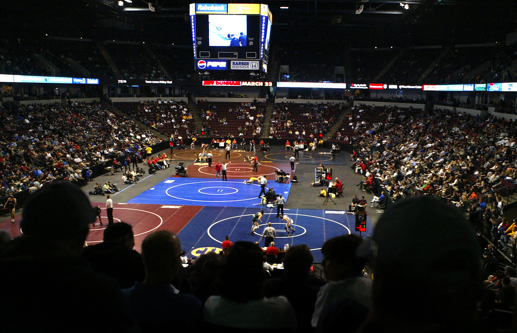 . Fans watch on day two of the California Interscholastic Federation wrestling championships in Bakersfield, Calif., on Saturday, March 2, 2013. (Anda Chu/Staff)