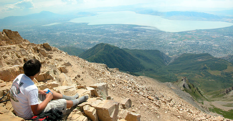 Sean is taking a little break at the 11,750 foot summit of Mt. Timpanogos. We live down in the valley below, which is about 4,000. This view is to the south west looking over Utah Lake.