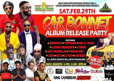 THE CAR BONNET ALBUM RELEASE PARTY FEBRUARY 2020