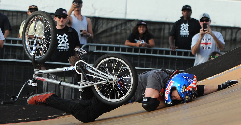 . Chad Kagy crashes finishing fourth during the GoPro BMX Big Air Final at Irwindale Speedway on Friday, Aug. 2, 2013 in Irwindale, Calif. Morgan Wade won the gold medal.  (Keith Birmingham/Pasadena Star-News)