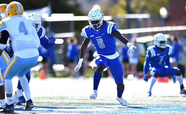 10/26/2019 Mike Orazzi | Staff CCSU's Foday Jalloh (6) during Saturday's football game with Long Island University in New Britain.