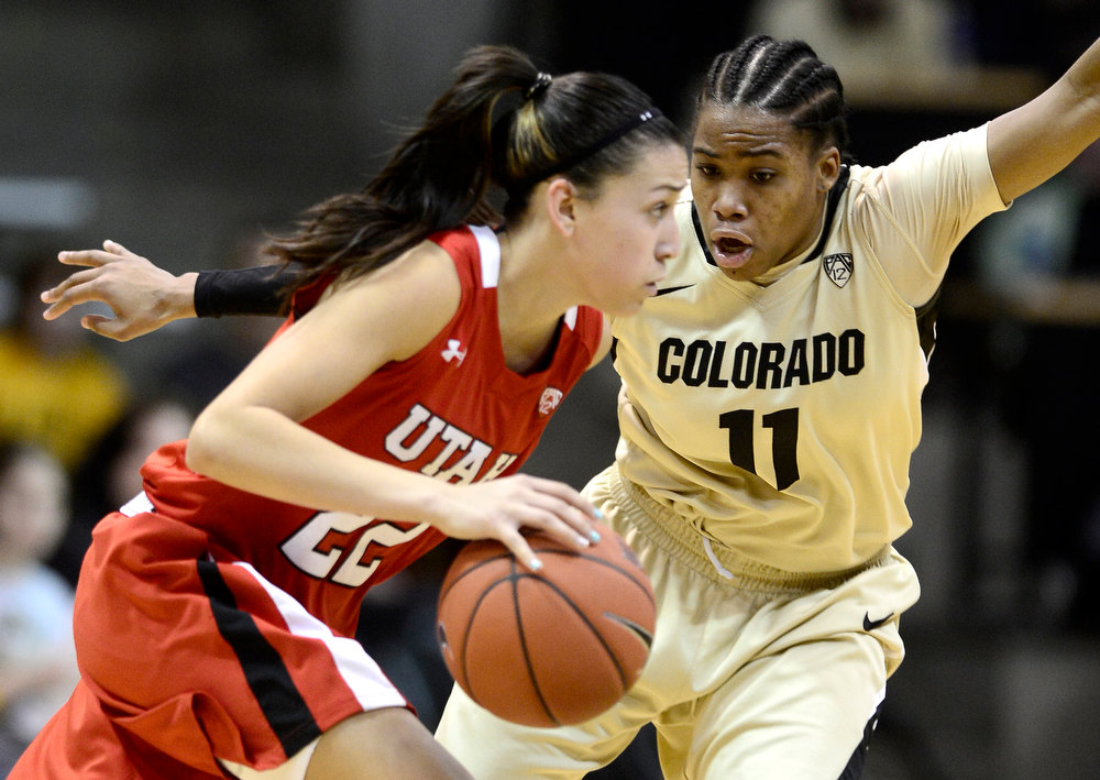 . Colorado\'s Brittany Wilson (right) guards Utah\'s Danielle Rodriguez (left) during their basketball game at the University of Colorado in Boulder , Colorado January 8, 2013. BOULDER DAILY CAMERA/ Mark Leffingwell