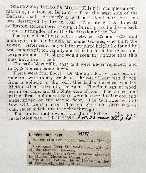 Newspaper clippings about the Spaldwick Windmill on Belton's Hill. Kindly provided by the Norris Museum.