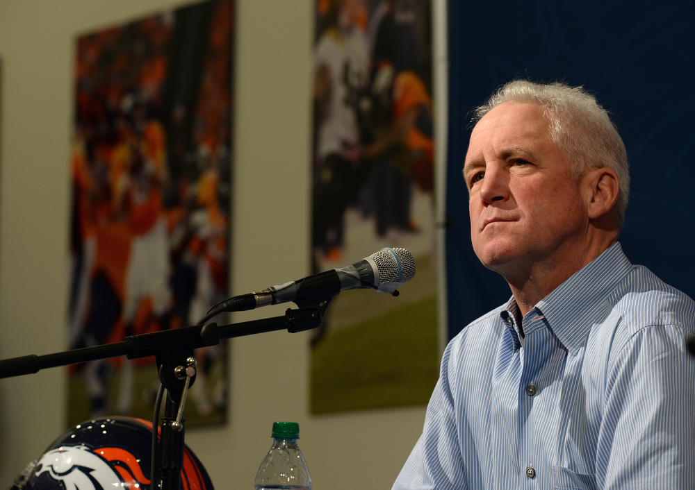 . Denver Broncos head coach John Fox fields questions from members of the media during a press conference with John Elway, Executive Vice President of Football Operations at Dove Valley in Englewood, Co on February 4, 2014.  The two held a press conference to talk about the team\'s loss in the Super Bowl to the Seattle Seahawks.  (Photo By Helen H. Richardson/ The Denver Post)