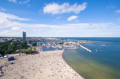 Aerial view of beach and marina, Baltic Sea, Gdynia, Poland