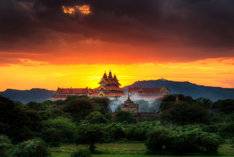 Temple on the banks of the Irrawaddy in Bagan Myanmar.  Copyright Mike Blank Jumpingborders.com