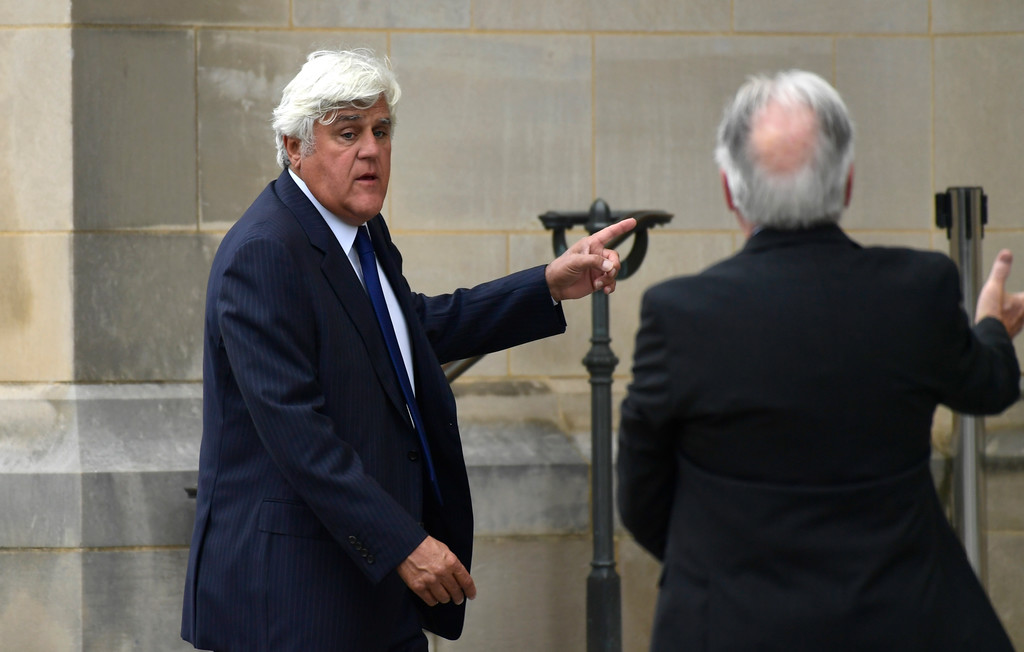 . Jay Leno arrives to attend a memorial service for Sen. John McCain, R-Ariz., at the Washington National Cathedral in Washington, Saturday, Sept. 1, 2018. McCain died Aug. 25 from brain cancer at age 81. (AP Photo/Susan Walsh)