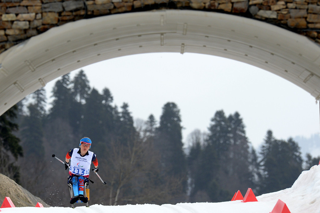 . Russia\'s Svetlana Konovalova competes to get third place during Women\'s 12 km Cross-Country Ski Sitting at XI Paralympic Olympic games in the Rosa Khutor stadium near Sochi on March 9, 2014.   KIRILL KUDRYAVTSEV/AFP/Getty Images
