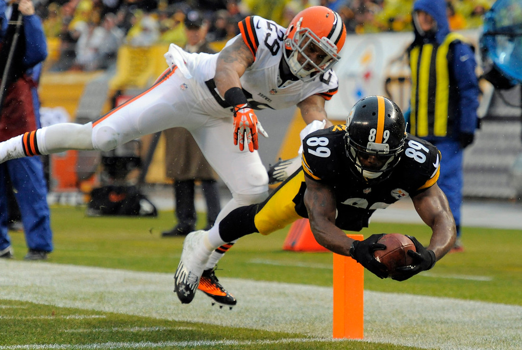 . Pittsburgh Steelers wide receiver Emmanuel Sanders (88) dives for the end zone and a touchdown past Cleveland Browns cornerback Leon McFadden (29) after catching a pass in the first quarter of an NFL football game on Sunday, Dec. 29, 2013, in Pittsburgh. (AP Photo/Don Wright)
