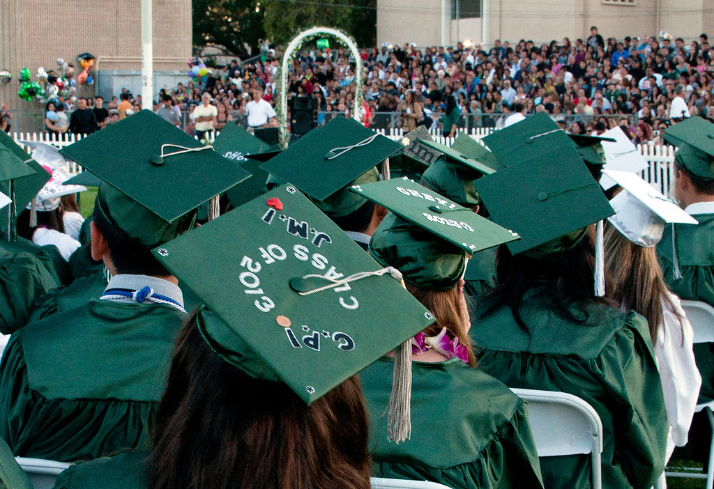 . The Canoga Park High School graduation class held their commencement in the school football field on Monday, June 10, 2013 in Canoga Park, CA. (Carlos Carpio/Special to the L.A. Daily News)
