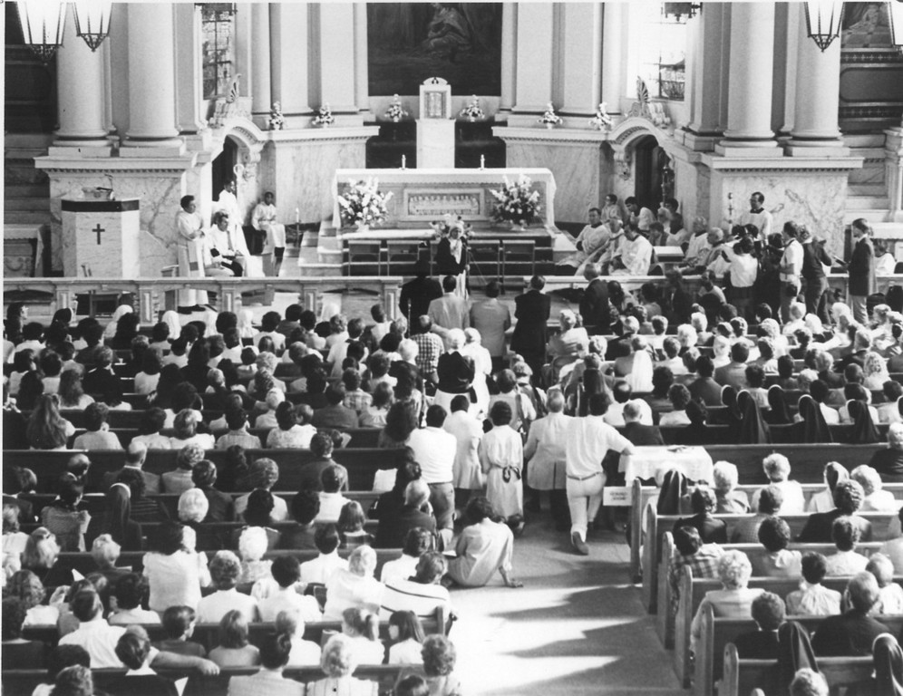 . This Times Herald file photo shows Mother Teresa addressing a standing-room-only crowd at St. Patricks�s Church in Norristown that gathered for mass Oct. 29, 1984. Mother Teresa was in Norristown for the newly opened convent of the Missionaries of Charity, which was established by members of the order she founded in 1950.