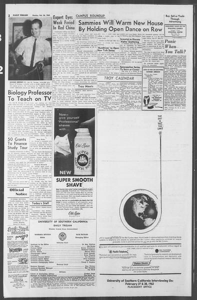 Daily Trojan, Vol. 53, No. 77, February 26, 1962