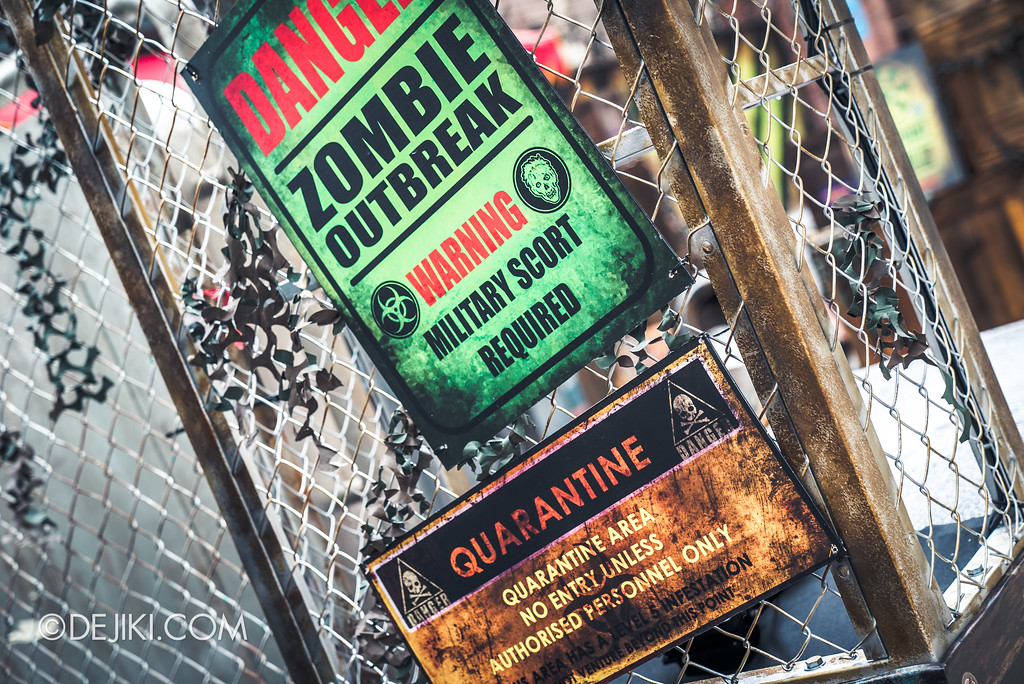 Halloween Horror Nights 7 Preview Construction Update Before Dark 3 - Zombie Laser Tag signs with mistakes