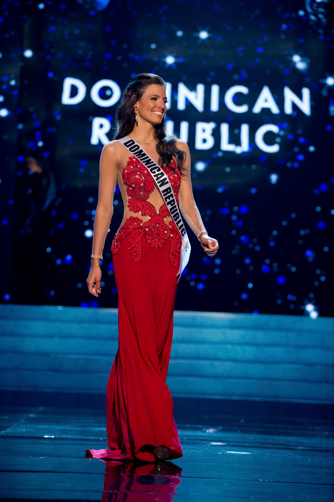 Description of . Miss Dominican Republic 2012 Dulcita Lynn Lieggi competes in an evening gown of her choice during the Evening Gown Competition of the 2012 Miss Universe Presentation Show in Las Vegas, Nevada, December 13, 2012. The Miss Universe 2012 pageant will be held on December 19 at the Planet Hollywood Resort and Casino in Las Vegas. REUTERS/Darren Decker/Miss Universe Organization L.P/Handout