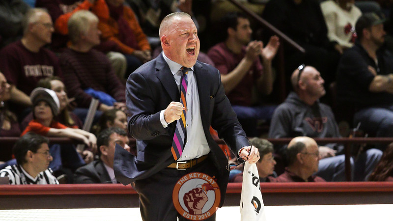 Head coach Buzz Williams celebrates a defensive stop in the second half against Boston College. (Mark Umansky/TheKeyPlay.com)