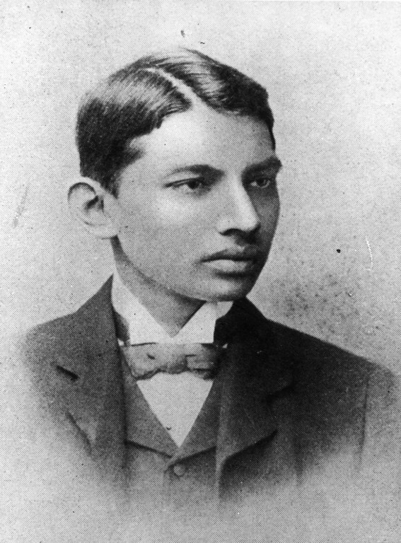 . Indian thinker, statesman and nationalist leader Mahatma Gandhi (Mohandas Karamchand Gandhi, 1869 - 1948), as a law student, 1887.  (Photo by Henry Guttmann/Getty Images)