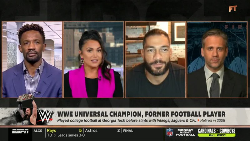 ESPN FIRST TAKE WWE Universal Champion Roman Reigns puts the Smackdown The Rock be honored.mp4