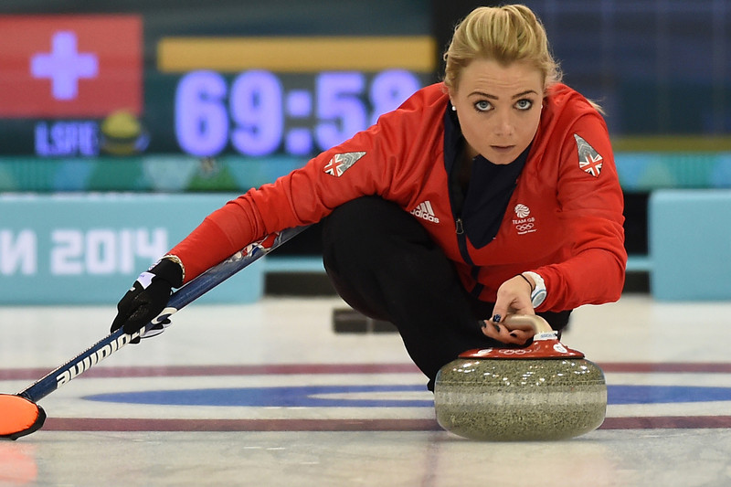 . Great Britain\'s Anna Sloan throws the stone during the Women\'s Curling Bronze Medal Game between Great Britain and Switzerland at the Ice Cube Curling Center during the Sochi Winter Olympics on February 20, 2014.  DAMIEN MEYER/AFP/Getty Images